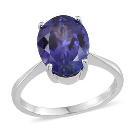 ILIANA 18K W Gold  AAA Tanzanite (Ovl) Solitaire Ring 5.500 Ct.