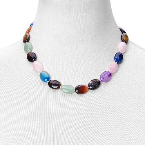 Limited Edition - Tuscon Collection Green Aventurine, Rose Quartz, Tigers Eye, Amethyst, Red Agate and Blue Agate Beads Necklace (Size 18 with 1 inch Extender) in Silver Tone 227.500 Ct.
