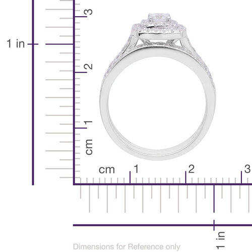 ILIANA 18K White Gold 1 Carat Diamond Bridal Rings Set with Stacker Band Ring IGI Certified SI G-H.