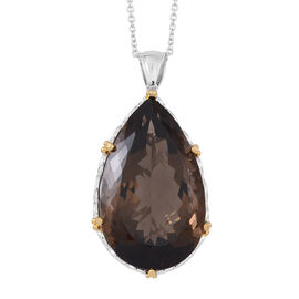 Limited Edition-Show Stopper Brazilian AAA Smoky Quartz (Pear) Pendant With Chain in Rhodium Plated Sterling Silver 150.000 Ct.