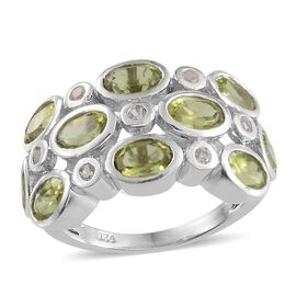 Hebei Peridot (Ovl), White Topaz Ring in Platinum Overlay Sterling Silver 4.750 Ct.