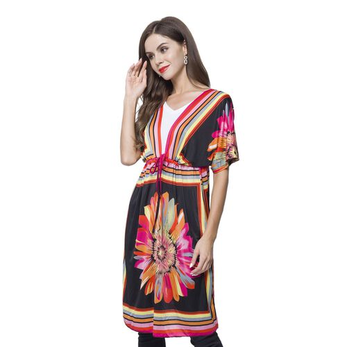 Black, Pink and Multi Colour Flower Printed Apparel (Size 90X62 Cm) with Adjustable Waistband