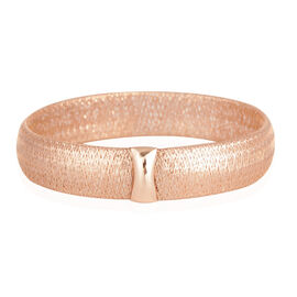 ILIANA 18K Rose Gold Made in Italy Designer Inspired Mesh Stretchable Bangle (Size 7.5), Gold wt 5.67 Gms.