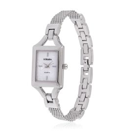 STRADA Japanese Movement Mope Dial Water Resistant Watch in Silver Tone with Stainless Steel Back