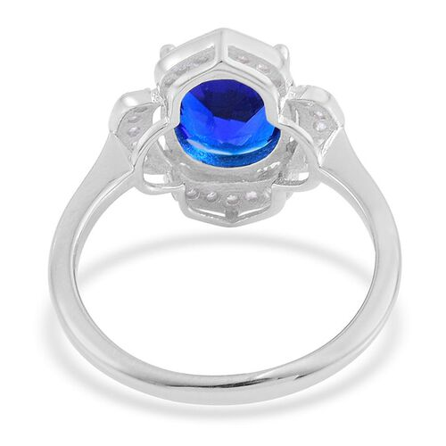 Simulated Blue Sapphire (Ovl), Simulated White Diamond Ring in Rhodium Plated Sterling Silver