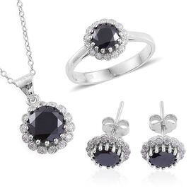 ELANZA AAA Simulated Black Spinel and Simulated White Diamond Ring, Earrings (With Push Back) and Pendant With Chain in Rhodium Plated Sterling Silver