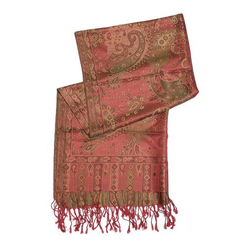 SILK MARK - 100% SuperfFine Silk Multi Colour Jacquard Jamawar Scarf with Fringes at the Bottom (Size 180x70 Cm) (Weight 125 - 140 Gms)