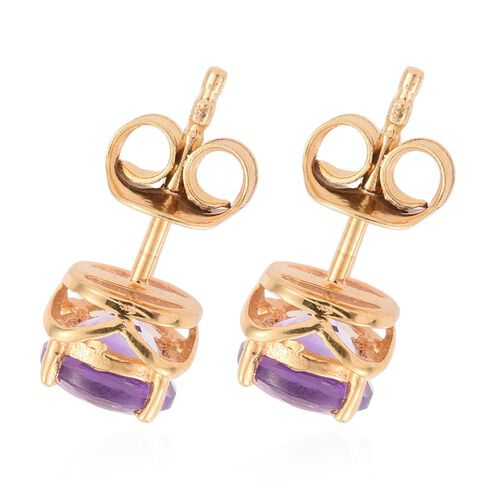 Amethyst 1.33 Ct Silver Solitaire Stud Earrings in Gold Overlay