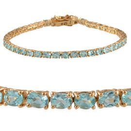Yellow Gold Plated Silver 6.25 Carat Paraibe Apatite Tennis Bracelet Of 7.5 Inch