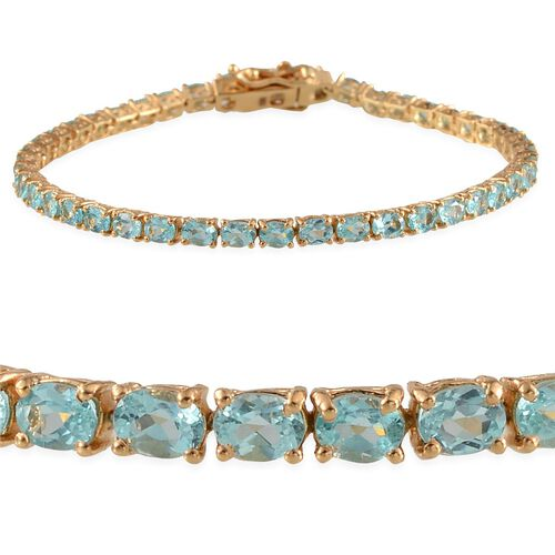 Paraibe Apatite (Ovl) Bracelet (Size 7.5) in Yellow Gold Overlay Sterling Silver 6.250 Ct.