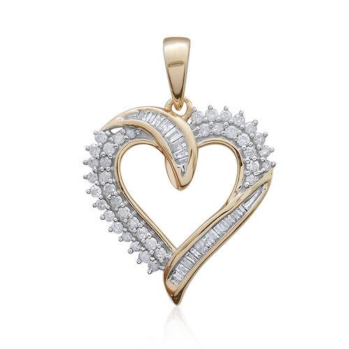 9K Yellow Gold SGL Certified Diamond (Bgt) (I3/G-H) Heart Pendant 0.501 Ct.
