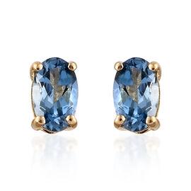 ILIANA 18K Y Gold AAA Santa Maria Aquamarine (Ovl) Stud Earrings (with Screw Back) 0.500 Ct.