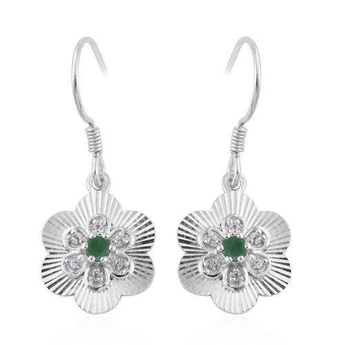 Brazilian Emerald (Rnd), White Zircon Hook Earrings in Sterling Silver 0.530 Ct.