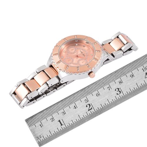 STRADA Japanese Movement White Austrian Crystal Studded Stardust Dial water Resistant Watch in Rose Gold Tone with Stainless Steel Back and Chain Strap