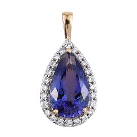 ILIANA 18K Yellow Gold 3.25 Carat AAA Tanzanite Pear Halo Pendant with Diamond SI G-H.