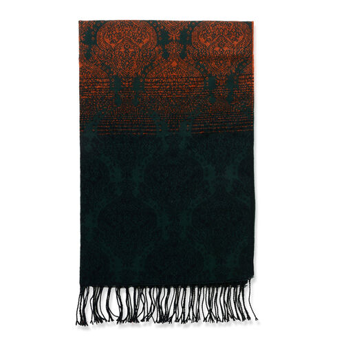 Designer Inspired Orange, Green and Multi Colour Damask Pattern Scarf (Size 180x65 Cm)