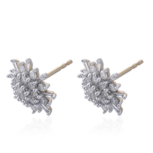 9K Yellow Gold 1 Carat Diamond Cluster Snowflake Stud Earrings SGL Certified I3 G-H.