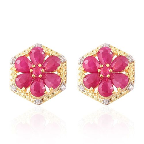 AAA Burmese Ruby (Pear), White Zircon Floral Stud Earrings (with Push Back) in Yellow Gold Overlay Sterling Silver 2.600 Ct.