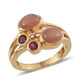 Morogoro Peach Sunstone (Ovl), Rhodolite Garnet Ring in 14K Gold Overlay Sterling Silver 3.000 Ct.