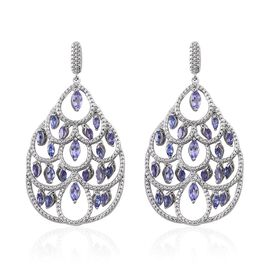 Tanzanite (Mrq) Earrings (with Push Back) in Platinum Overlay Sterling Silver 4.000 Ct.