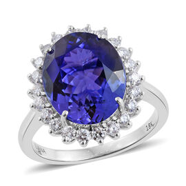 ILIANA 18K White Gold 6.75 Carat AAA Tanzanite Engagement Ring With Diamond SI G-H