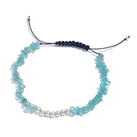 Paraibe Apatite Adjustable Bracelet (Size 7.5) in Platinum Overlay Sterling Silver 22.580 Ct.