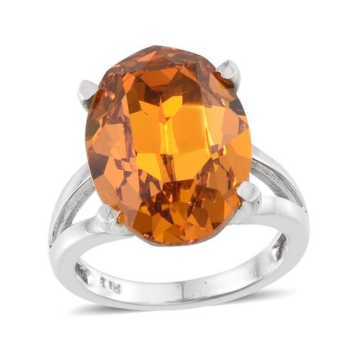 J Francis Crystal from Swarovski - Topaz Colour Crystal (Ovl) Ring in ION Plated Platinum Bond