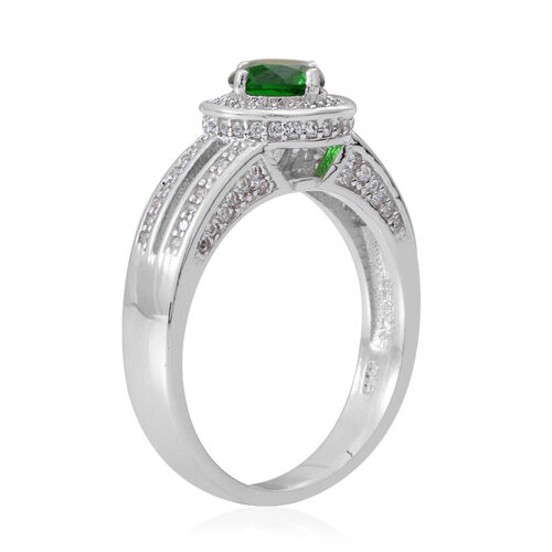 ELANZA AAA Simulated Emerald (Rnd), Simulated White Diamond Ring in Rhodium Plated Sterling Silver