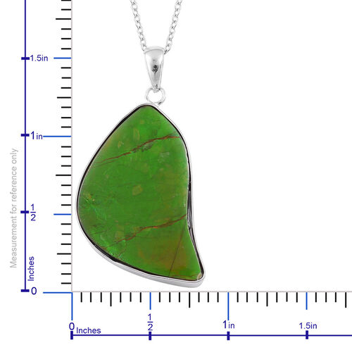 (Option 1) Canadian Ammolite Pendant With Chain in Rhodium Plated Sterling Silver 19.340 Ct.