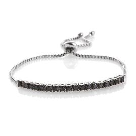 Black Diamond (Rnd) Adjustable Bracelet (Size 6 to 9 Inch) in Platinum Overlay Sterling Silver 1.000 Ct.