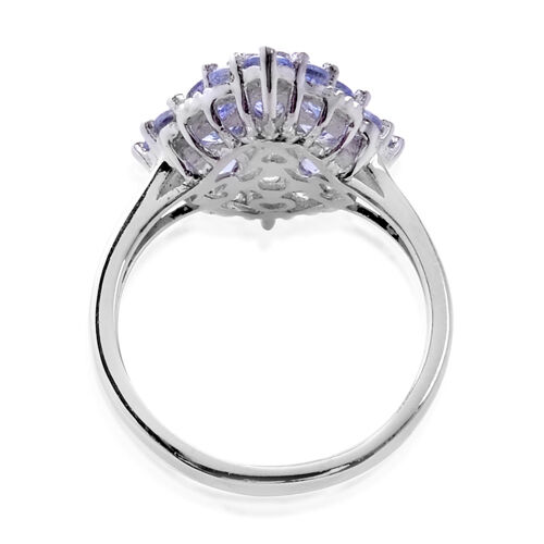 Tanzanite (Ovl) Cluster Ring in Platinum Overlay Sterling Silver Ring  2.18 Ct.