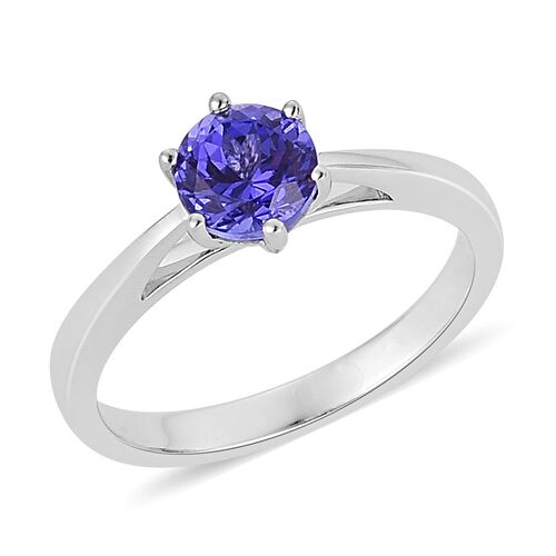 ILIANA 18K White Gold 1.25 Carat AAA Tanzanite Round Solitaire Ring.