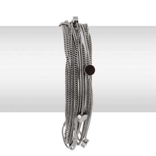 Multi Strand Necklace (Size 18) and Bracelet (Size 7 with Extension) in Black Tone