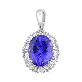 ILIANA 18K W Gold AAA Tanzanite (Ovl 3.50 Ct), Diamond Pendant 4.000 Ct.