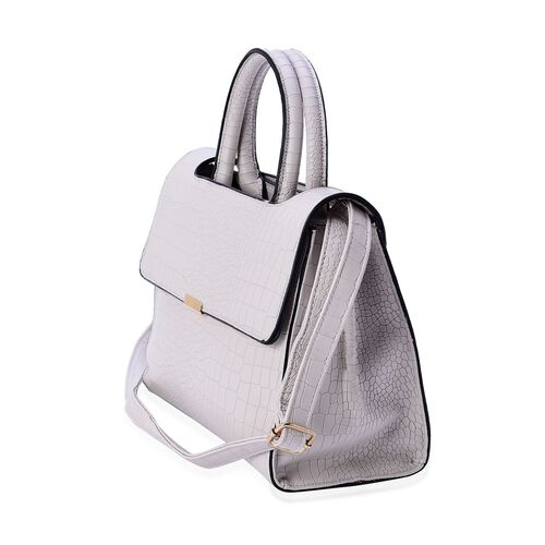 Croc Embossed Light Grey Colour Tote Bag with Adjustable Shoulder Strap (Size 28x20x12.5 Cm)