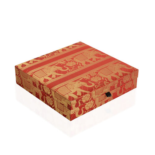 Hand Crafted Eco Friendly - Jacquard Elephant Weave Zari Art Work Maroon Colour 100 Slot Ring Box (Size 25.5x25.5x6.5 Cm)