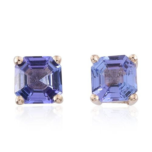 9K Y Gold Asscher Cut Tanzanite (Oct) Stud Earrings (with Push Back) 1.250 Ct.