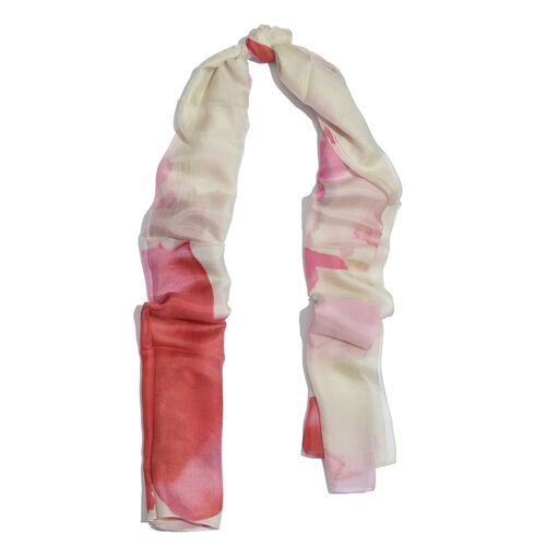 100% Mulberry Silk Pink and Cream Colour Scarf (Size 180x100 Cm)