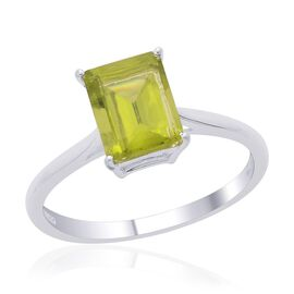 Hebei Peridot (Oct) Solitaire Ring in Sterling Silver 2.250 Ct.