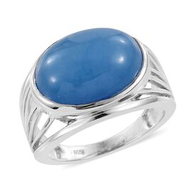 Blue Jade (Ovl) Ring in Platinum Overlay Sterling Silver 10.500 Ct.