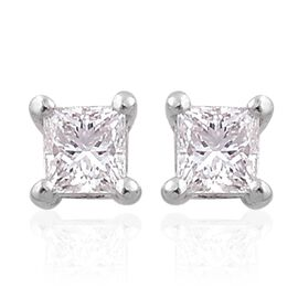 ILIANA 18K W Gold IGI Certified Diamond (Sqr) (SI/G-H) Stud Earrings (with Screw Back) 0.250 Ct.