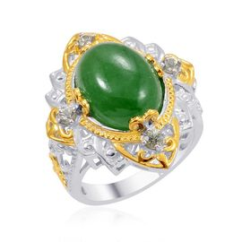 Designer Collection Green Jade (Ovl 9.25 Ct), Green Sapphire Ring in 14K YG and Platinum Overlay Sterling Silver 9.705 Ct.