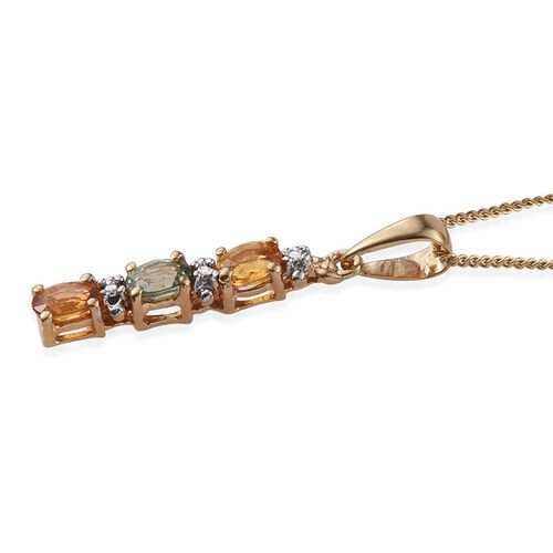 Yellow Sapphire (Ovl), Green Sapphire and Orange Sapphire Pendant With Chain in 14K Gold Overlay Sterling Silver 0.750 Ct.