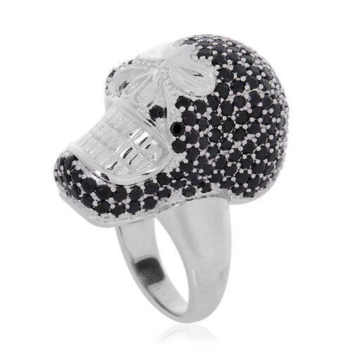 Boi Ploi Black Spinel Ring in Silver Tone 3.100 Ct.