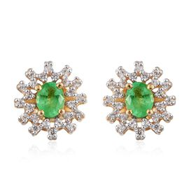 Boyaca Colombian Emerald (Ovl), Natural Cambodian Zircon Stud Earrings in 14K Gold Overlay Sterling Silver 1.000 Ct.