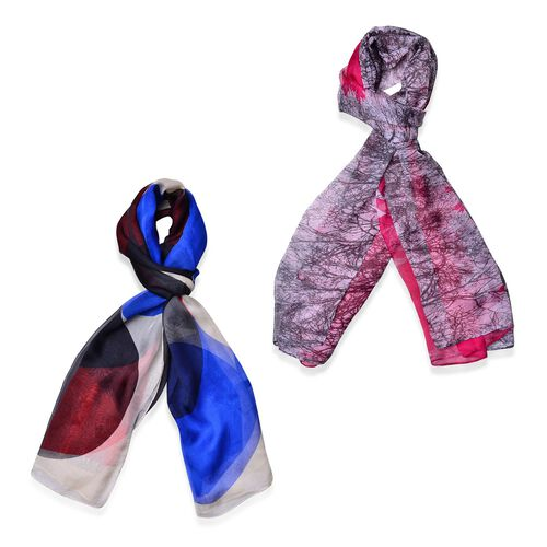 Set of 2 - Designer Inspired Pink, White and Black, Blue Colour Scarf (Size 175x70 Cm)