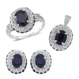 Kanchanaburi Blue Sapphire (Ovl), Medagascar Blue Sapphire and Natural Cambodian White Zircon Ring, Pendant and Stud Earrings (with Push Back) in Rhodium Plated Sterling Silver 11.000 Ct.