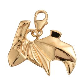Origami Rabbit Silver Charm Pendant in Gold Overlay