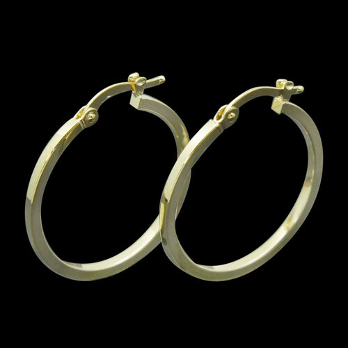 Royal Bali Collection 9K Yellow Gold 25 mm Hoop Earrings (with Clasp)