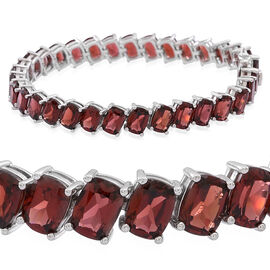 Mozambique Garnet (Cush) Tennis Bracelet (Size 7.5) in Rhodium Plated Sterling Silver 39.500 Ct.